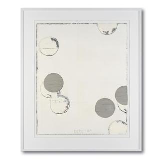 Jupp Linssen – Ballpoint Erste Unikatserie von Jupp Linssen: Farbkreise aus Öl auf Büttenpapier – von Künstlerhand gemalt. 20 Multiples. Masse: gerahmt 93 x 112 cm