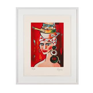 Elvira Bach – Kopftuch 2010 Unverkennbar Elvira Bach: Eines ihrer weltberühmten Frauenportraits als Radierung. Die letzten 20 Exemplare der 99er-Edition. Masse: gerahmt 63 x 78 cm
