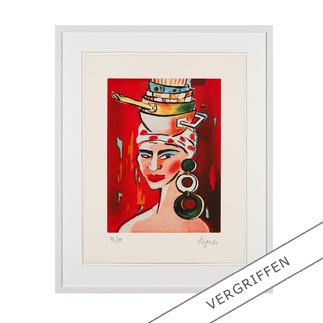 Elvira Bach – Kopftuch 2010 Unverkennbar Elvira Bach: Eines ihrer weltberühmten Frauenportraits als Radierung. Die letzten 20 Exemplare der 99er-Edition.