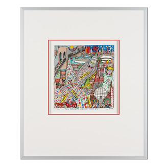 James Rizzi – New York City – Highway to the Sky 2006 Rarität – eine der letzten handsignierten 3D-Papierskulpturen des verstorbenen James Rizzi. 33 von 350 Exemplaren – exklusiv bei Pro-Idee. Masse: gerahmt 51,5 x 61,5 cm