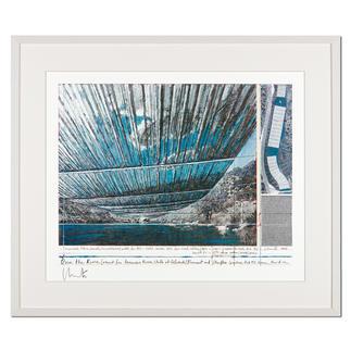 Christo – Over The Arkansas River, Project U Christos umstrittenes Projekt. Handsignierte Granolithografie. Die letzten 25 von 100 Exemplaren – exklusiv im Pro-Idee Kunstformat. Masse: gerahmt 79 x 67 cm