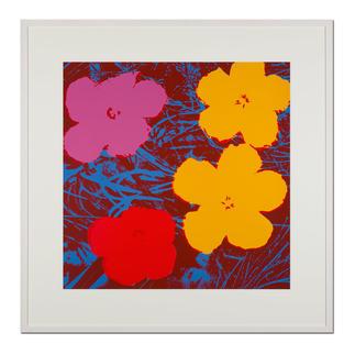 Andy Warhol – Flowers rot Sunday B. Morning Siebdruck auf 1,52 mm starkem Museumskarton. Masse: gerahmt 112 x 112 cm