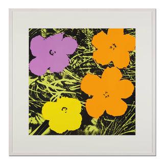 Andy Warhol – Flowers gelb Sunday B. Morning Siebdruck auf 1,52 mm starkem Museumskarton. Masse: gerahmt 112 x 112 cm