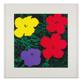 Andy Warhol – Flowers grün Sunday B. Morning Siebdruck auf 1,52 mm starkem Museumskarton. Masse: gerahmt 112 x 112 cm