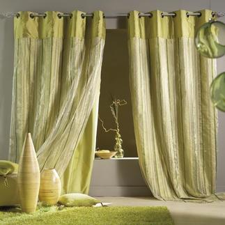 """Vorhang """"Le Trio"""", 1 Vorhang 3 Grün-Töne und kühl knisternder Taft – Frühlingsfrische in ihrer ganzen Pracht!"""