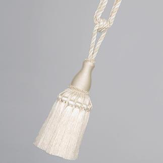 """Raffhalter """"Fontainebleau"""", 1 Raffhalter Noch traditionell als Posament von Hand gefertigt: der Raffhalter mit üppiger Quaste."""