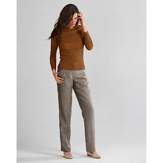 Die Leinenhose fürs Business: lässig, luftig, figurgünstig. So schweres Leinen knittert weniger.