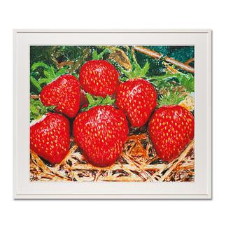 """Thomas Baumgärtel – o. T. Erdbeeren Die berühmteste Banane der Kunstwelt: Baumgärtels Erdbeeren bestehen aus hunderten Bananen. Edition """"o. T. Erdbeeren"""" – exklusiv für Pro-Idee. Handübersprüht. 20 Exemplare. Masse: 85 x 70 cm"""