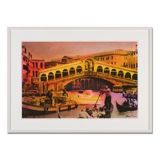 Helle Jetzig – Rialtobrücke P1 Helle Jetzigs Venedig: Einzigartige Technik aus Malerei, Siebdruck und Schwarz-Weiss-Fotografie. Erste Papier-Edition, die nachträglich mit einem Siebdruck versehen wurde. 40 Exemplare. Masse: 80 x 53 cm