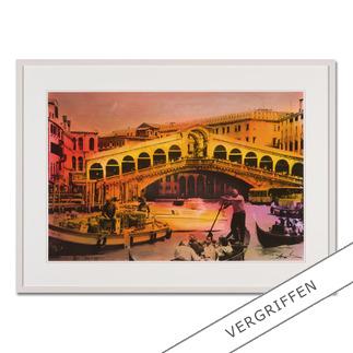 Helle Jetzig – Rialtobrücke P1 Helle Jetzigs Venedig: Einzigartige Technik aus Malerei, Siebdruck und Schwarz-Weiss-Fotografie. Erste Papier-Edition, die nachträglich mit einem Siebdruck versehen wurde. 40 Exemplare.