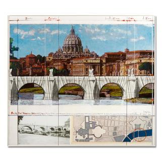 """Christo – Ponte St. Angelo, Wrapped – Project for Rome, 1969-2011 Ein echtes Sammlerstück: Christos handübermalte und mit Stoff collagierte Collage. Geschützt hinter Acrylglas. Die letzten 8 Exemplare von """"Ponte St'Angelo"""". Masse: gerahmt 72,5 x 64,2 cm"""