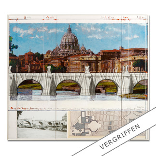 """Christo: """"Ponte St. Angelo, Wrapped – Project for Rome, 1969-2011"""" Ein echtes Sammlerstück: Christos handübermalte und mit Stoff collagierte Collage. Geschützt hinter Acrylglas. Die letzten 8 Exemplare von """"Ponte St'Angelo""""."""