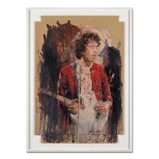 "Oliver Jordan – Jimi Oliver Jordan editiert erstmals sein Lieblingswerk ""Jimi"" Hendrix. Hochwertige Edition auf Kartonage. Masse: gerahmt 83 x 113 cm"