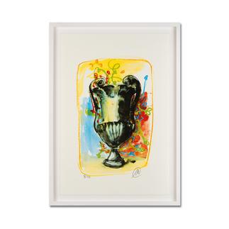 Markus Lüpertz – Vase 3 Keine Lüpertz-Edition ist wie diese. Einer seiner seltenen farbenfrohen Siebdrucke. Gering limitiert mit 40 Exemplaren. Masse: gerahmt 57 x 79 cm