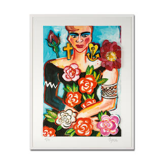 Elvira Bach – Magnolia Unverkennbar Elvira Bach: Eines ihrer weltberühmten Frauenportraits – erstmalig als 3D-Edition. 30 Exemplare. Masse: gerahmt 84 x 104 cm