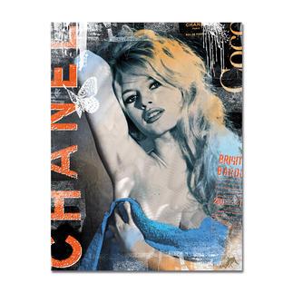 """Devin Miles – Bardot Chanel – Brigitte Bardot Devin Miles: Der Shootingstar der deutschen """"Modern Pop-Art"""".  Unikatserie """"Bardot Chanel – Brigitte Bardot"""" aus Malerei, Siebdruck und Airbrush auf gebürstetem Aluminium. 100 % Handarbeit. Masse: 100 x 130 cm"""