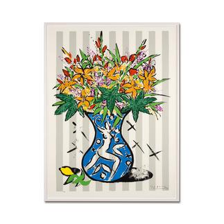 "Stefan Szczesny: ""Flowers on Stripes"" Stefan Szczesnys grossformatigste Grafik-Edition. Im Format 120 x 160 cm. 60 Exemplare."