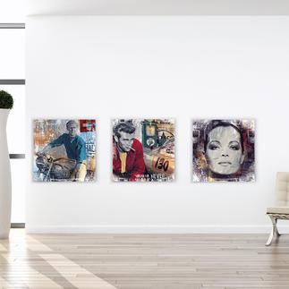 """Devin Miles – American Hero, Pit Stop oder Romy Devin Miles: Der Shootingstar der deutschen """"Modern Pop-Art"""". Unikatserien aus Malerei, Siebdruck und Airbrush auf gebürstetem Aluminium. 100 % Handarbeit. Masse: 70 x 70 cm"""