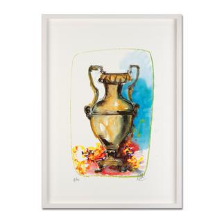 """Markus Lüpertz: """"Vase 1"""" Keine Lüpertz-Edition ist wie diese. Einer seiner seltenen farbenfrohen Siebdrucke. Gering limitiert mit 40 Exemplaren."""