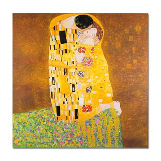 """Xu Chunqing malt Klimt: """"Der Kuss"""" Ein Millionen-Euro-Kunstwerk in Ihrer Sammlung? Beinahe. Die perfekte Kunstkopie – 100 % von Hand in Öl gemalt."""