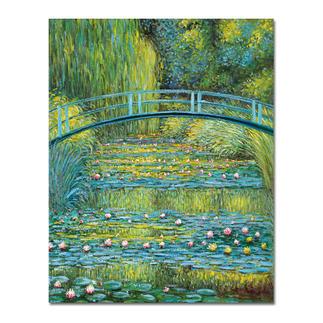 """Zhao Xiaojie malt Monet: """"Bridge over a Pond of Water Lilies"""" Ein Millionen-Euro-Kunstwerk in Ihrer Sammlung? Beinahe. Die perfekte Kunstkopie – 100 % von Hand in Öl gemalt."""