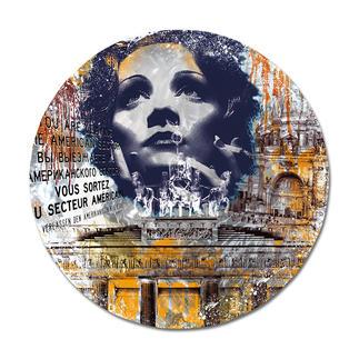 """Devin Miles – Timeless – Marlene Dietrich Devin Miles: Der Shootingstar der deutschen """"Modern Pop-Art"""". Unikatserie """"Timeless – Marlene Dietrich"""" aus Malerei, Siebdruck und Airbrush auf gebürstetem Aluminium. 100 % Handarbeit. Masse: Ø 120 cm"""