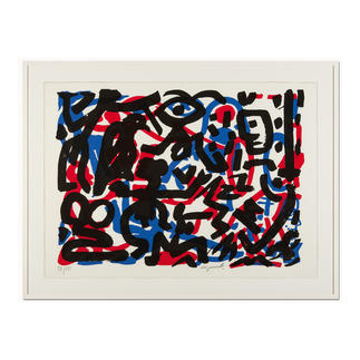 """A. R. Penck – Weiterarbeit A. R. Penck in den wichtigsten Museen der Welt – und jetzt als limitierter Siebdruck bei Ihnen zu Hause. Die letzten 15 Exemplare der Edition """"Weiterarbeit"""" exklusiv bei Pro-Idee. Masse: 112 x 80,5 cm"""