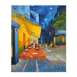 """Zhao Xiaoyong malt Vincent van Gogh: """"Caféterrasse am Abend"""" Vincent van Goghs: """"Caféterrasse am Abend"""". Die perfekte Kunstkopie – 100 % von Hand in Öl gemalt."""