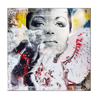"""Devin Miles – David Der Shootingstar der deutschen """"Modern Pop-Art"""". Unikatserie aus Malerei, Siebdruck und Airbrush auf Holz. 100 % Handarbeit. Masse: 80 x 80 cm"""