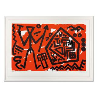 """A. R. Penck – Pentagon rot A. R. Penck in den wichtigsten Museen der Welt – und jetzt als limitierter Siebdruck bei Ihnen zu Hause. Letzte Exemplare seiner viele Jahre unter Verschluss gehaltenen Edition """"Pentagon rot"""". Masse: gerahmt 118 x 88 cm"""