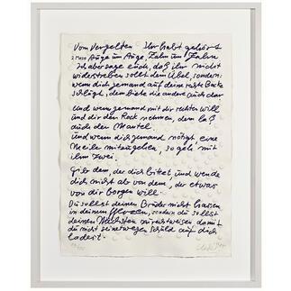 """Günther Uecker – Blatt 7 der 9-teiligen Mappe der Friedensgebote Günther Uecker: Komposition von Präge- und Siebdruck auf handgeschöpftem Büttenpapier. """"Blatt 7 der 9-teiligen Mappe der Friedensgebote"""". 100 Exemplare. Masse: 53,5 x 70,5 cm"""