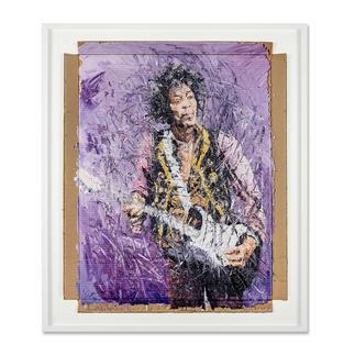 Oliver Jordan – Jimi Hendrix Oliver Jordans zweite Jimi-Hendrix-Auflage (die erste war nach kurzer Zeit ausverkauft). Exklusive Pro-Idee-Edition auf Kartonage. 20 Exemplare. Masse: gerahmt 92 x 108 cm