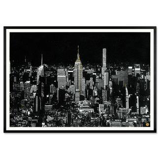 Tim Bengel – New York Skyline Tim Bengel: Seine einzigartigen Originale aus Sand und Gold erobern die Kunstwelt. Erste Edition. Von Hand veredelt. 25 Exemplare. Masse: gerahmt 120 x 84 cm