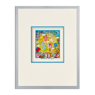 James Rizzi – Beautiful sun daze 3D-Papierskulpturen des verstorbenen James Rizzi. 350 Exemplare. Masse: gerahmt 31 x 41 cm