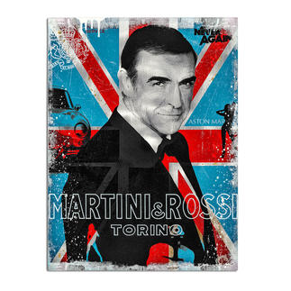 """Devin Miles – Martini & Rossi II Der Shootingstar der deutschen """"Modern Pop-Art"""". Unikatserie aus Malerei, Siebdruck und Airbrush auf gebürstetem Aluminium. 100 % Handarbeit. Masse: 60 x 80 cm"""