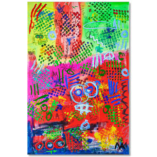 Mikail Akar – Mika City Erst 7 Jahre alt – schon 5-stellige Verkaufspreise. Handübermalte Edition von Deutschlands jüngstem Abstraktkünstler Mikail Akar. Masse: 80 x 120 cm