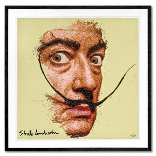 STALE Amsterdam – Dali STALE Amsterdam: Senkrechtstarter dank weltweit einzigartiger Technik. Bemerkenswertes Dali-Portrait, im Action Painting erschaffen. 40 Exemplare. Masse: gerahmt  72 x 72 cm