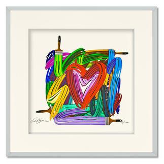 David Gerstein – Touching Heart - Papercut David Gerstein: Israels bedeutendster Bildhauer mit einer seiner seltenen Papier-Skulpturen. Handkolorierte 3D-Edition. 270 Exemplare. Masse: gerahmt 52 x 52 cm