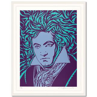 "John van Hamersveld – Blue Beethoven John van Hamersvelds ""Blue Beethoven"".  Niedrig limitierte Sonderedition zum 250. Geburtstag von Ludwig van Beethoven. Masse: gerahmt 96,5 x 122,5 cm"