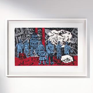 """Nummerierte Immendorff-Grafik """"The Rake's Progress"""" Sichern Sie sich einen der letzten, noch handsignierten Drucke von Jörg Immendorff."""