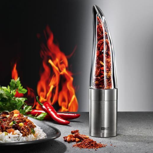Chilimühle Pepe - Feurige Chilis – leichter, schneller und sicherer hauchfein schneiden. Und exakt dosieren.