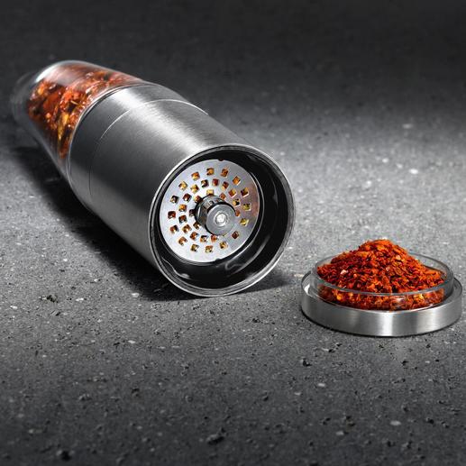Jede Chilischote wird hauchfein geschnitten. Nichts verstopft.