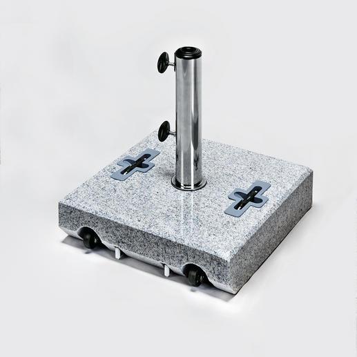 Granit-Schirmständer - Kompakter Schirmständer aus echtem Granit mit 2 leichtlaufenden Rollen.