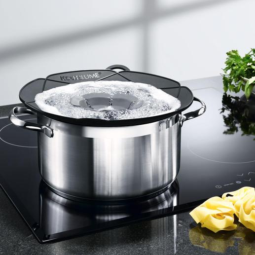 Kochblume® - Geniale Idee schafft Überkochen ab. Ideal auch als Mikrowellen-Deckel, Pfannen-Spritzschutz & Dampfgar-Aufsatz.