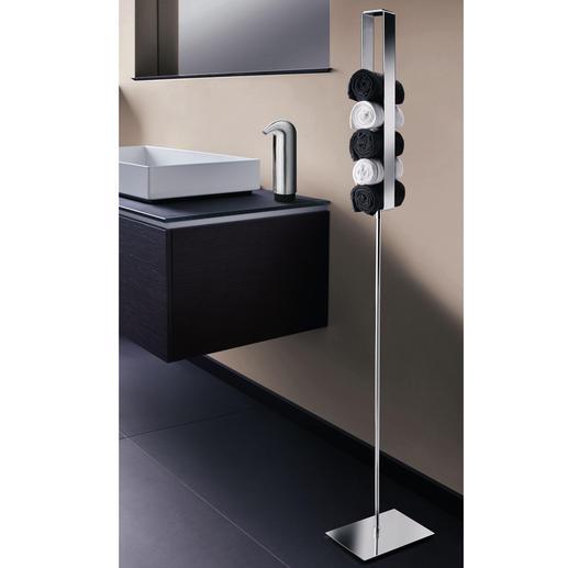 Gästehandtuch-Ständer In spiegelpoliertem Edelstahl werden Ihre Gästetücher jetzt zum edlen Blickfang.