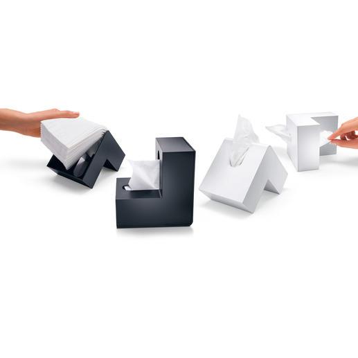 """Kosmetiktuchbox """"Knick"""" - Pfiffig mit Knick: Die bessere Box für Kosmetiktücher spart Platz. Und passt in jede Ecke."""