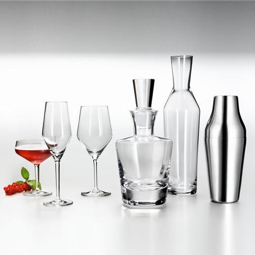 Shaker, Wasserkaraffe, Whiskeykaraffe, Allround-Weinglas, Champagner-Glas und Cocktail-Schale