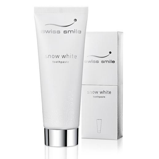 """swiss smile Whitening-Zahncreme oder """"Pearl Shine & Repair Conditioner"""" - Strahlend weisse Zähne. Ohne aggressive Putzkörper, chemische Aufheller und Peroxide."""