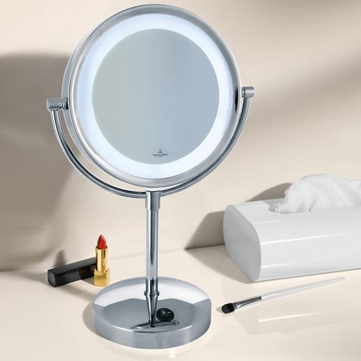 Villeroy & Boch Kosmetikspiegel mit Licht - Wertvoll verchromt, mit verzerrungsfreier 3fach-Vergrösserung und heller, blendfreier LED-Beleuchtung.