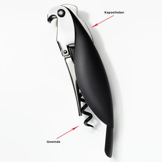 Sommelier-Korkenzieher Parrot Das Werkzeug professioneller Sommeliers – von Alessi zum Kunstwerk veredelt.